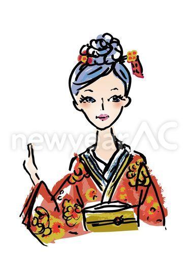 着物の和風女性 No1000912019年の無料年賀状デザインなら年賀状ac