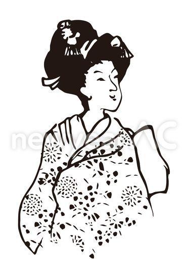 着物の和風女性 No1000922019年の無料年賀状デザインなら年賀状ac
