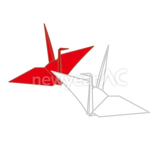 ... 折り鶴 白 紅白 素材 赤 鶴
