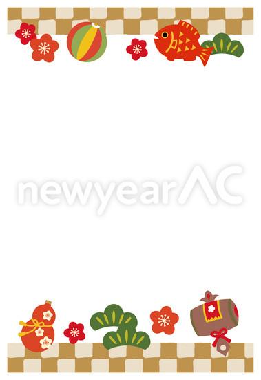 お正月イラストフレーム2 No1018032019年の無料年賀状デザインなら