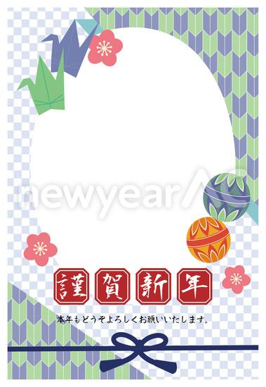 すべての折り紙 折り紙 冬 : 鶴と毬の千代紙風フレーム 青 ...