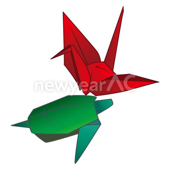折り紙の鶴と亀2 No1020902019年の無料年賀状デザインなら年賀状ac