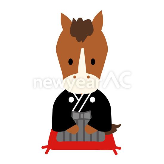 袴を着た馬 No1028062019年の無料年賀状デザインなら年賀状ac