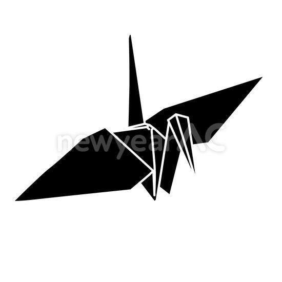 モノトーン 折り鶴1 │年賀状 ...