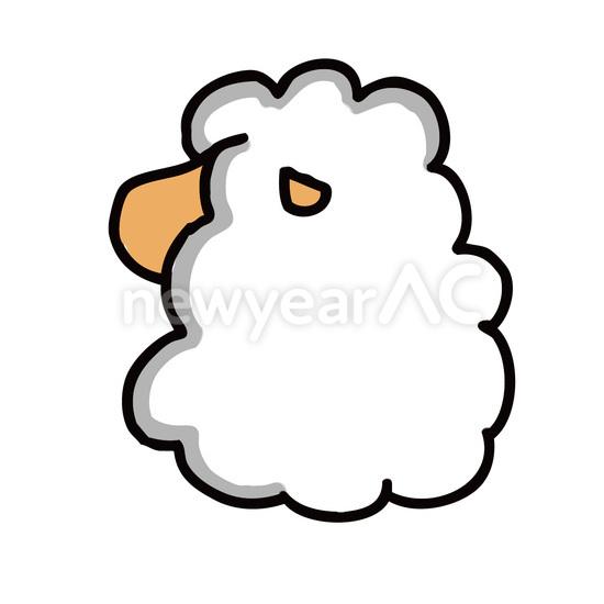 羊後ろ姿 No1032342019年の無料年賀状デザインなら年賀状ac