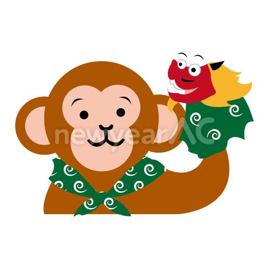 獅子舞と猿 手芸 No108060年賀状素材イラストの無料ダウンロード