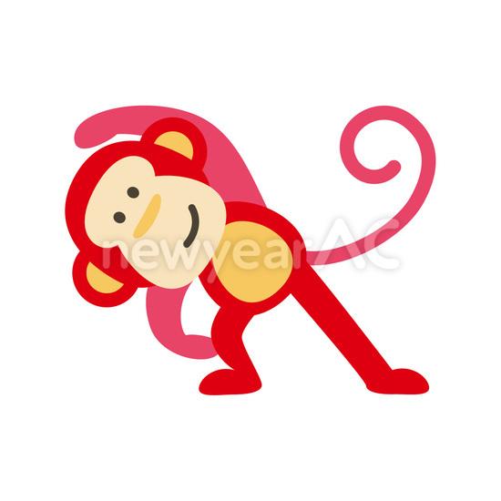 準備運動をする赤猿 準備運動をする赤猿 │年賀状テンプレート・年賀状素材の無料ダウンロードサイト