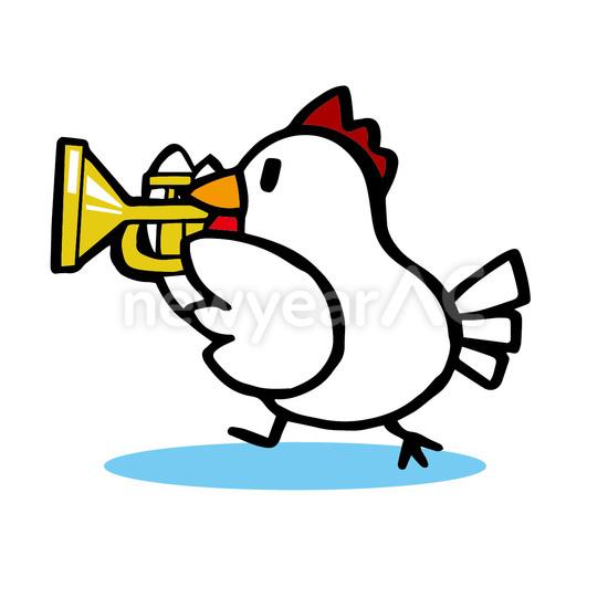 トランペットを演奏する酉 No1093962019年の無料年賀状デザインなら