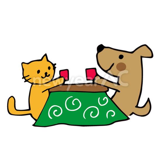 猫と犬6 No110290年賀状素材イラストの無料ダウンロードなら年賀状ac