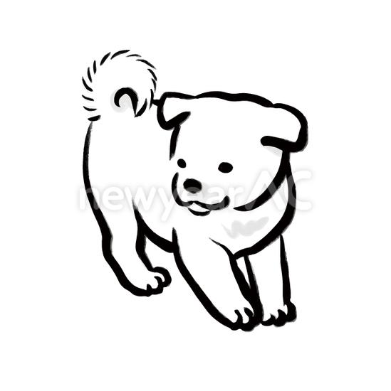 犬の水墨画7 No1103572019年の無料年賀状デザインなら年賀状ac