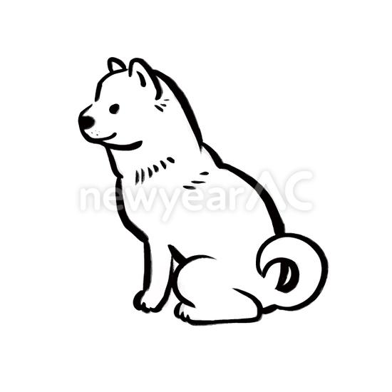 犬の水墨画10 No1103602019年の無料年賀状デザインなら年賀状ac