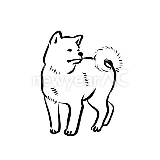 犬の水墨画14 No 年賀状素材 21 令和3年 丑年 なら年賀状ac