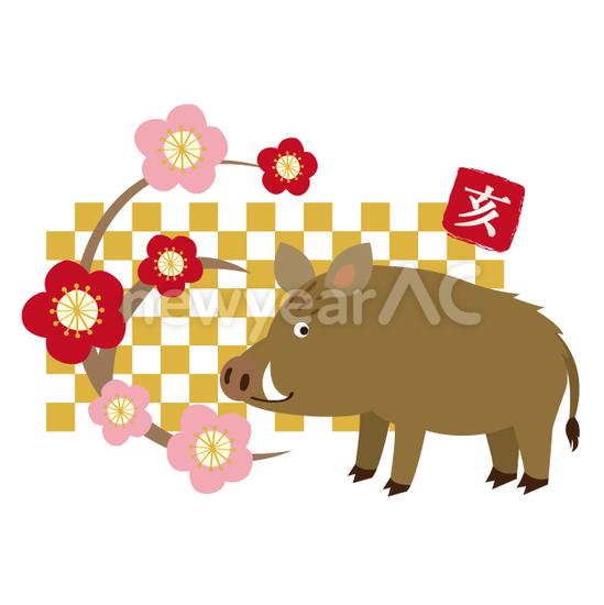 和風な猪 No1111922019年の無料年賀状デザインなら年賀状ac