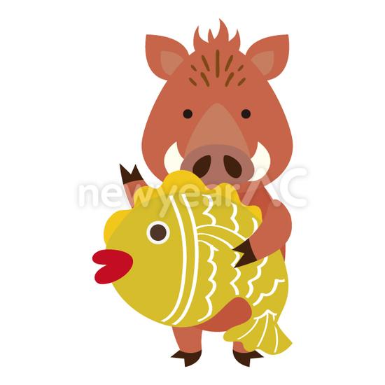 鯛と猪 No1112102019年の無料年賀状デザインなら年賀状ac