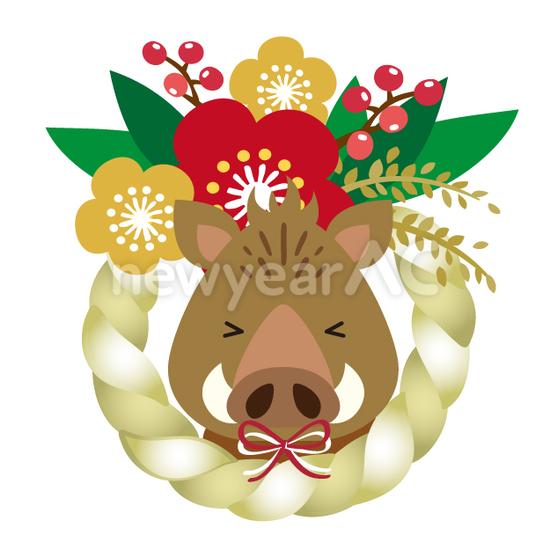 正月飾りと猪 No1112112019年の無料年賀状デザインなら年賀状ac