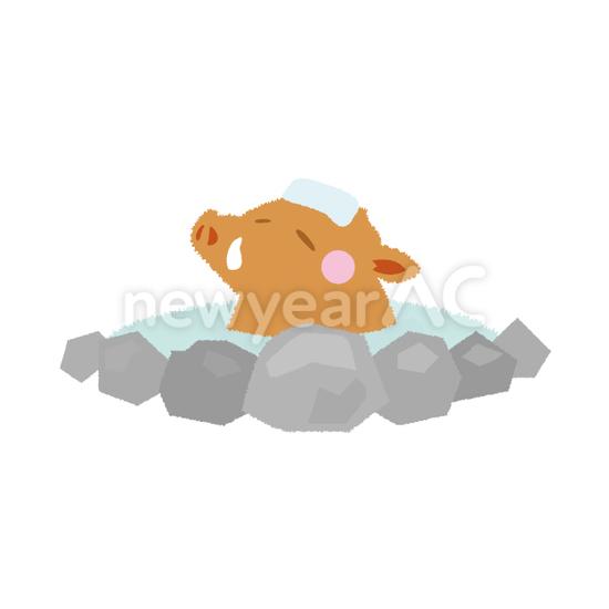 温泉猪 No1112992019年の無料年賀状デザインなら年賀状ac