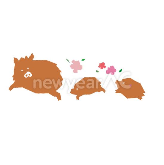 切り絵風猪 No1113022020年の無料年賀状デザインなら年賀状ac