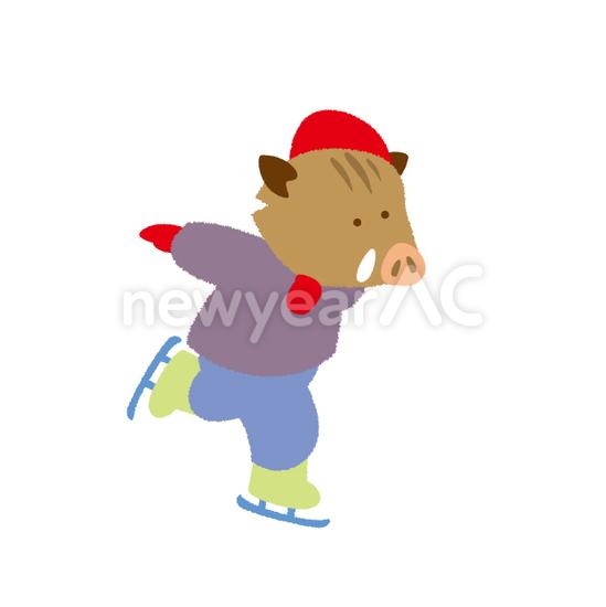 スケート猪 No111308年賀状素材イラストの無料ダウンロードなら年賀状ac