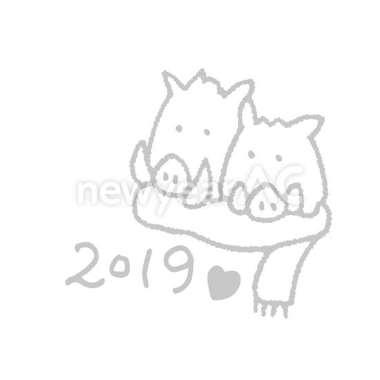 猪カップル No111332年賀状素材イラストの無料ダウンロードなら年賀状ac
